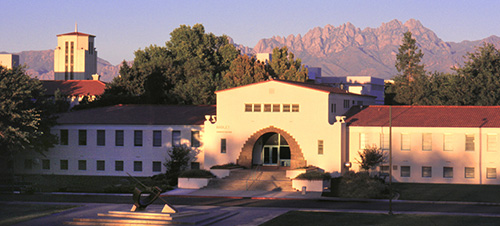 A view of the NMSU campus and Organ Mountains from the west end of College Avenue.